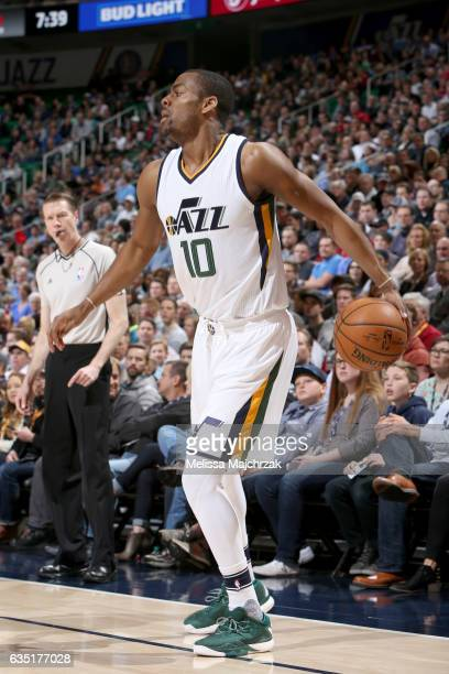 Alec Burks of the Utah Jazz handles the ball against the Los Angeles Clippers on February 13 2017 at vivintSmartHome Arena in Salt Lake City Utah...