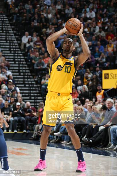 Alec Burks of the Utah Jazz handles the ball against the Memphis Grizzlies on October 22 2018 at vivintSmartHome Arena in Salt Lake City Utah NOTE TO...
