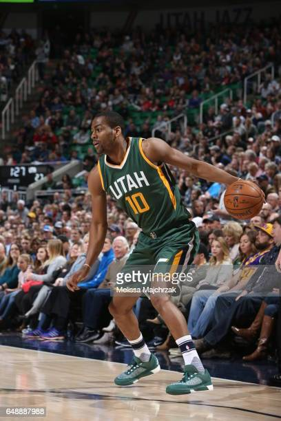 Alec Burks of the Utah Jazz handles the ball against the New Orleans Pelicans on March 6 2017 at vivintSmartHome Arena in Salt Lake City Utah NOTE TO...