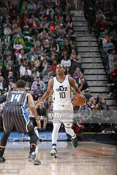 Alec Burks of the Utah Jazz handles the ball against the Orlando Magic on January 14 2017 at vivintSmartHome Arena in Salt Lake City Utah NOTE TO...