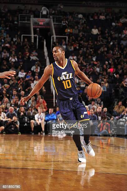 Alec Burks of the Utah Jazz handles the ball against the Phoenix Suns on January 16 2017 at Talking Stick Resort Arena in Phoenix Arizona NOTE TO...