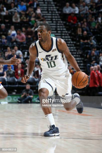 Alec Burks of the Utah Jazz handles the ball against the Phoenix Suns on October 6 2017 at vivintSmartHome Arena in Salt Lake City Utah NOTE TO USER...