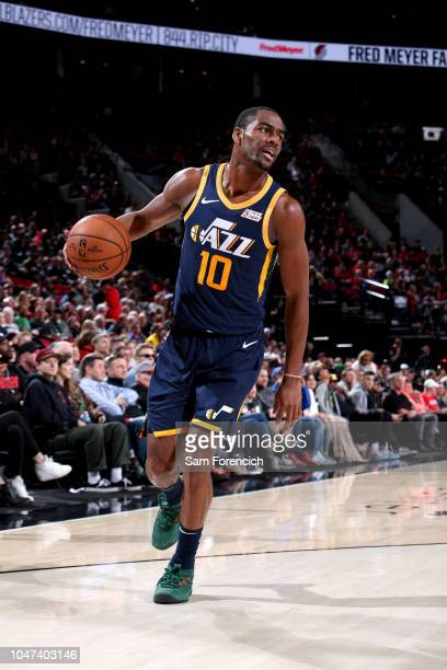 Alec Burks of the Utah Jazz handles the ball against the Portland Trail Blazers during a preseason game on October 7 2018 at the Moda Center in...