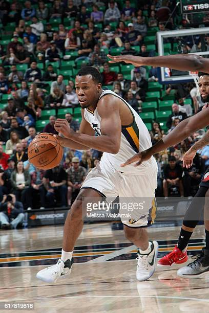 Alec Burks of the Utah Jazz handles the ball against the Portland Trail Blazers on October 19 2016 at vivintSmartHome Arena in Salt Lake City Utah...