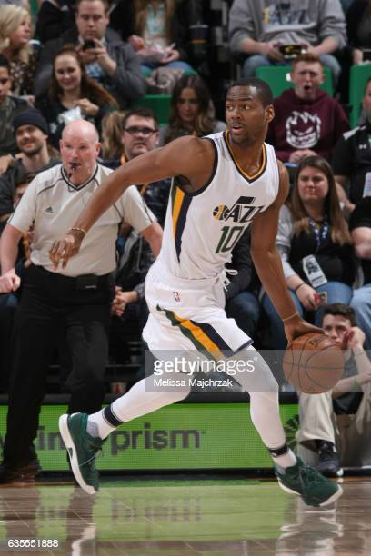 Alec Burks of the Utah Jazz handles the ball against the Portland Trail Blazers on February 15 2017 at vivintSmartHome Arena in Salt Lake City Utah...