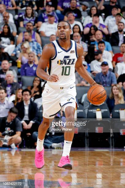 Alec Burks of the Utah Jazz handles the ball against the Sacramento Kings on October 17 2018 at Golden 1 Center in Sacramento California NOTE TO USER...