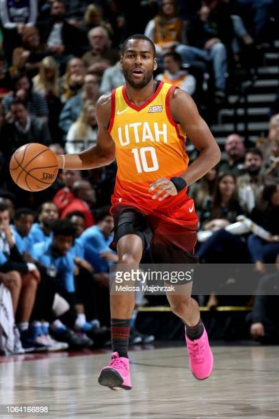 Alec Burks of the Utah Jazz handles the ball against the Sacramento Kings on November 21 2018 at Vivint Smart Home Arena in Salt Lake City Utah NOTE...