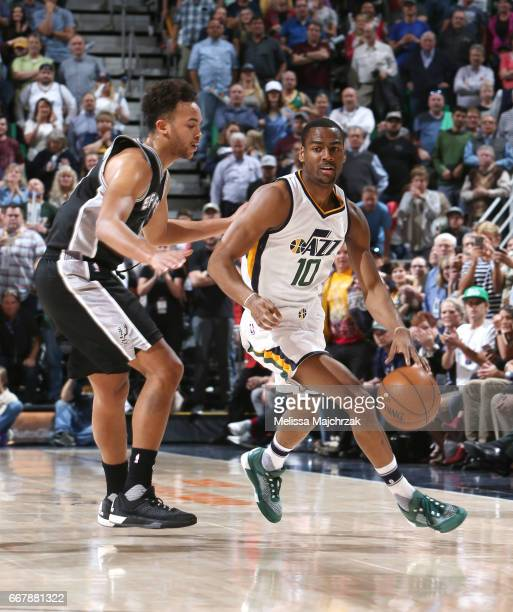 Alec Burks of the Utah Jazz handles the ball against the San Antonio Spurs during the game on April 12 2017 at vivintSmartHome Arena in Salt Lake...