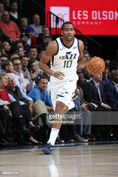 Alec Burks of the Utah Jazz handles the ball against the Washington Wizards on December 4 2017 at Vivint Smart Home Arena in Salt Lake City Utah NOTE...