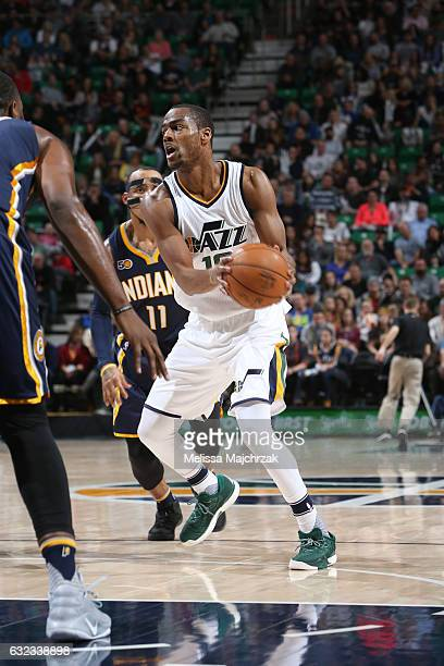 Alec Burks of the Utah Jazz handles the ball during a game against the Indiana Pacers on January 21 2017 at vivintSmartHome Arena in Salt Lake City...