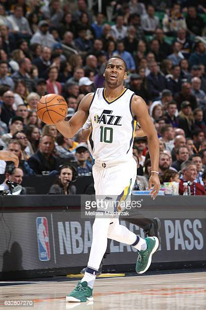 Alec Burks of the Utah Jazz handles the ball during a game against the Los Angeles Lakers on January 26 2017 at vivintSmartHome Arena in Salt Lake...