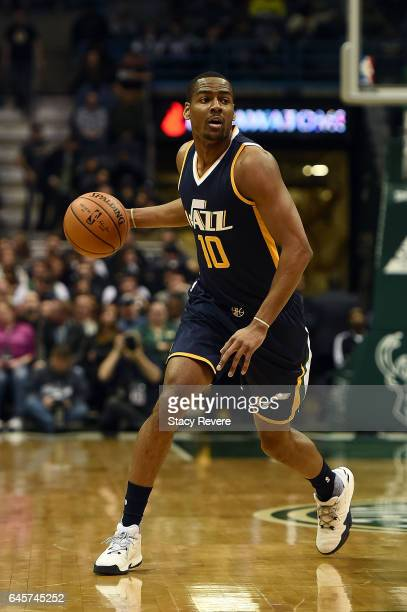 Alec Burks of the Utah Jazz handles the ball during a game against the Milwaukee Bucks at the BMO Harris Bradley Center on February 24 2017 in...