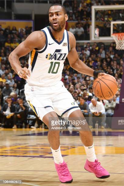 Alec Burks of the Utah Jazz handles the ball during the game against the Los Angeles Lakers on November 23 2018 at STAPLES Center in Los Angeles...