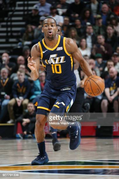 Alec Burks of the Utah Jazz handles the ball during the game against the Orlando Magic on March 5 2018 at vivintSmartHome Arena in Salt Lake City...