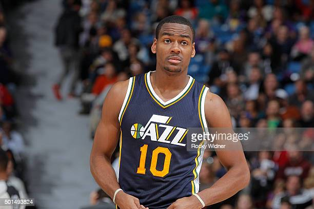 Alec Burks of the Utah Jazz looks on during the game against the Sacramento Kings on December 8 2015 at Sleep Train Arena in Sacramento California...