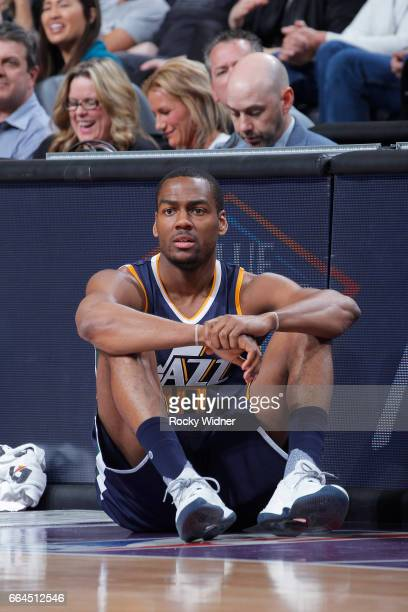 Alec Burks of the Utah Jazz looks on during the game against the Sacramento Kings on March 29 2017 at Golden 1 Center in Sacramento California NOTE...