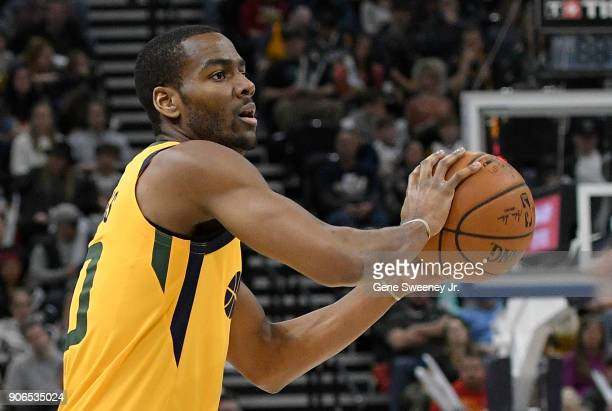 Alec Burks of the Utah Jazz looks to pass the ball during a game against the Indiana Pacers at Vivint Smart Home Arena on January 15 2018 in Salt...