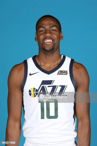 Alec Burks of the Utah Jazz poses for a head shot during media day at Zions Bank Basketball Center on September 25 2017 in Salt Lake City Utah NOTE...