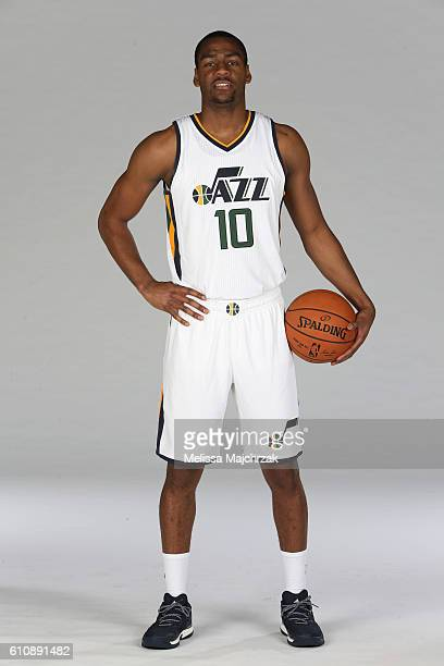 Alec Burks of the Utah Jazz poses for a photo during the 20162017 Utah Jazz media day at Zions Bank Basketball Center on September 26 2016 in Salt...