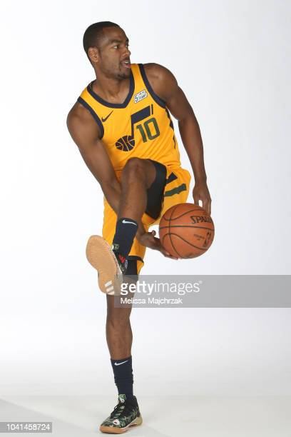 Alec Burks of the Utah Jazz poses for a portrait at media day on September 24 2018 at the Zions Bank Basketball Campus in Salt Laker City Utah NOTE...