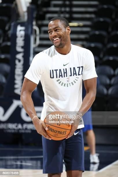 Alec Burks of the Utah Jazz reacts before the game against the Dallas Mavericks on October 30 2017 at Vivint Smart Home Arena in Salt Lake City Utah...