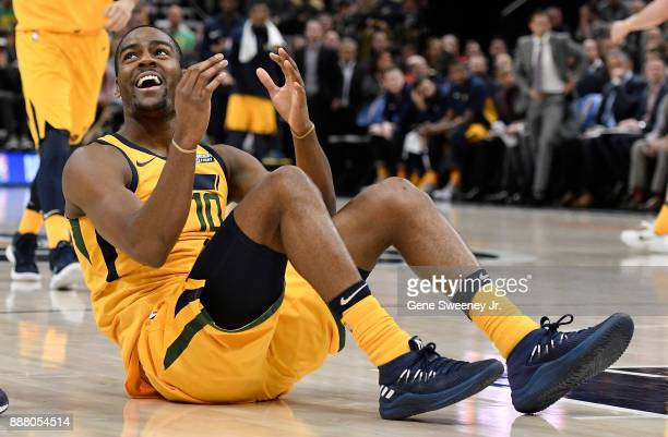 Alec Burks of the Utah Jazz reacts to a foul called against the Houston Rockets in the second half of the 112101 win by the Rockets at Vivint Smart...