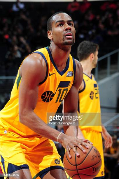 Alec Burks of the Utah Jazz shoots the ball against the Atlanta Hawks on January 22 2018 at Philips Arena in Atlanta Georgia NOTE TO USER User...