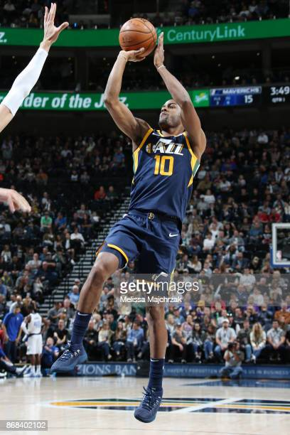 Alec Burks of the Utah Jazz shoots the ball against the Dallas Mavericks on October 30 2017 at Vivint Smart Home Arena in Salt Lake City Utah NOTE TO...