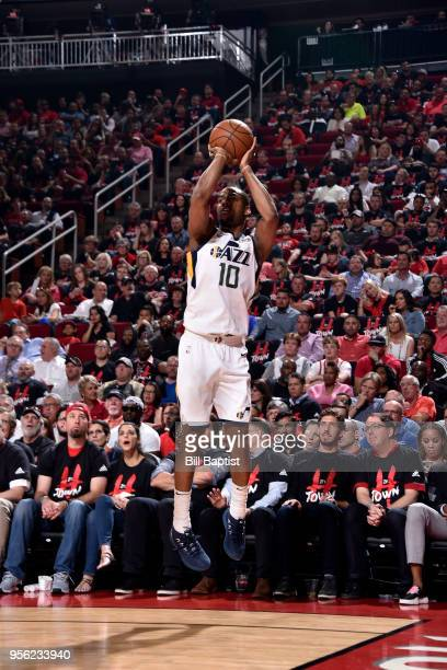 Alec Burks of the Utah Jazz shoots the ball against the Houston Rockets in Game Five of the Western Conference Semifinals of the 2018 NBA Playoffs on...
