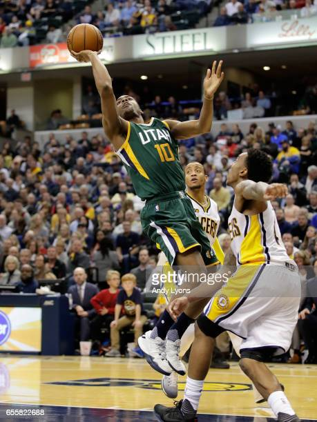 Alec Burks of the Utah Jazz shoots the ball against the Indiana Pacers at Bankers Life Fieldhouse on March 20 2017 in Indianapolis Indiana NOTE TO...