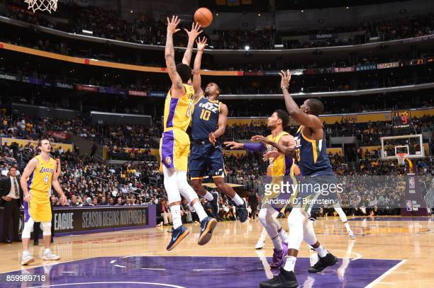 Alec Burks of the Utah Jazz shoots the ball against the Los Angeles Lakers during a preseason game on October 10 2017 at STAPLES Center in Los...