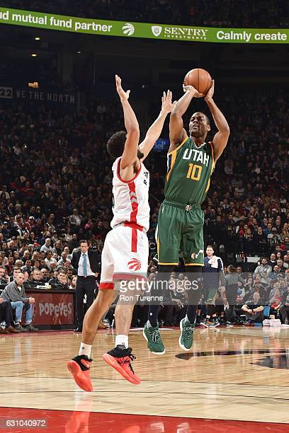 Alec Burks of the Utah Jazz shoots the ball against the Toronto Raptors during the game on January 5 2017 at the Air Canada Centre in Toronto Ontario...