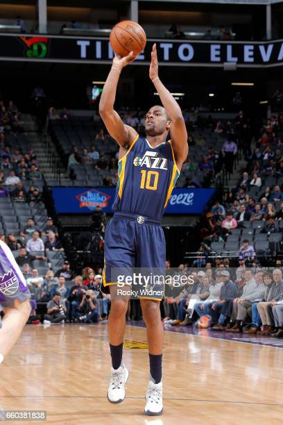 Alec Burks of the Utah Jazz shoots the ball during the game against the Sacramento Kings on March 29 2017 at Sleep Train Arena in Sacramento...