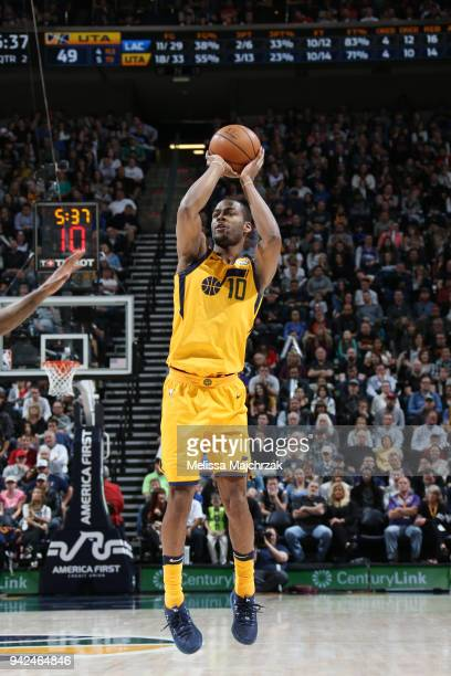 Alec Burks of the Utah Jazz shoots the ball during the game against the LA Clippers on April 5 2018 at vivintSmartHome Arena in Salt Lake City Utah...