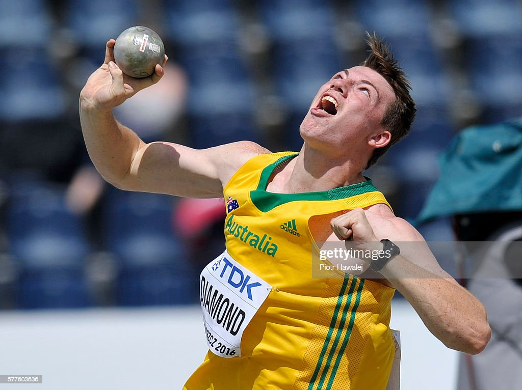 Alec Diamond from Australia competes in the men's shot put qualification during the IAAF World U20 Championships - Day 1 at Zawisza Stadium on July 19, 2016 in Bydgoszcz, Poland.