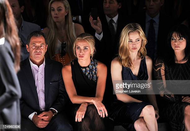 Alec Gore model Beth Whitson actress Melissa George and actress Selma Blair attend the JMendel Spring 2012 Fashion Show at Lincoln Center on...
