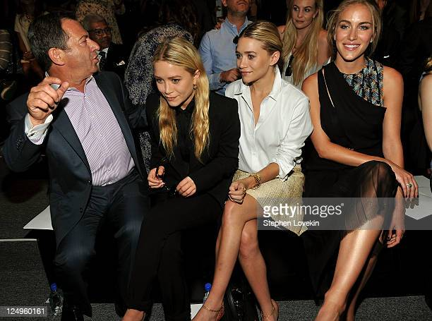 Alec Gores MaryKate Olsen Ashley Olsen and model Beth Whitson attend the JMendel Spring 2012 Fashion Show at Lincoln Center on September 14 2011 in...