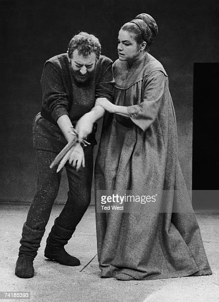 Alec Guinness as Macbeth and French actress Simone Signoret as Lady Macbeth in a production of the Shakespeare tragedy at the Royal Court Theatre...