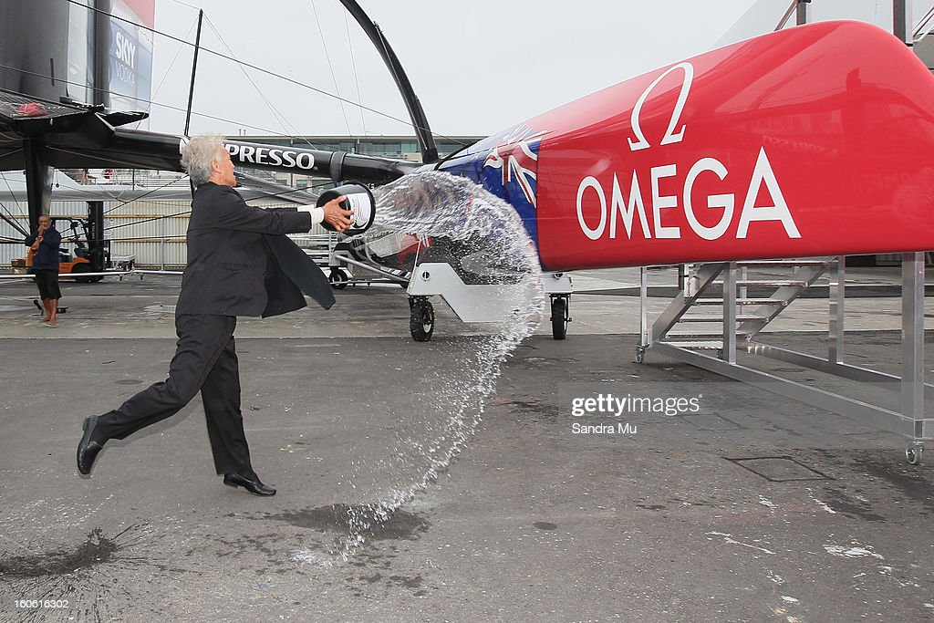Alec Hawke of Ngati Whatua Orakei blesses the boat during the launch of the Emirates Team New Zealand boat at the Viaduct Harbour on February 4, 2013 in Auckland, New Zealand.