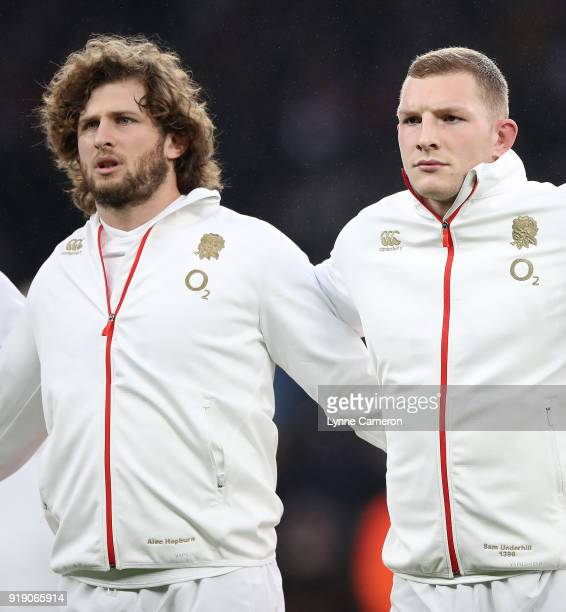 Alec Hepburn and Sam Underhill of England during the NatWest Six Nations match between England and Wales at Twickenham Stadium on February 10 2018 in...