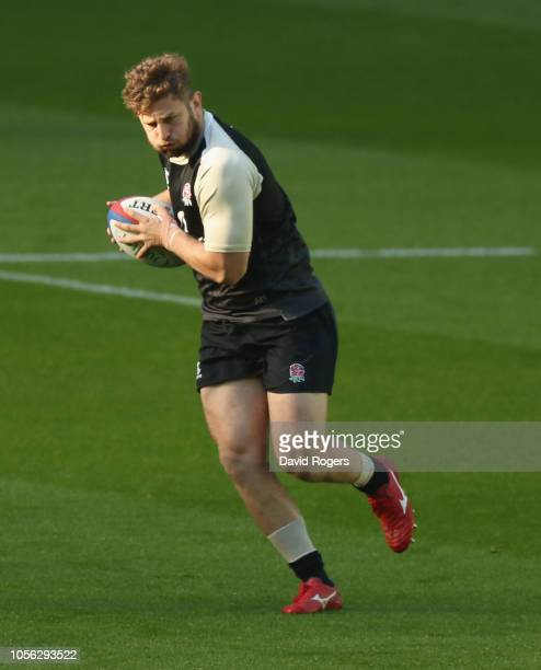Alec Hepburn breaks with the ball during the England captain's run held at Twickenham Stadium on November 2 2018 in London England