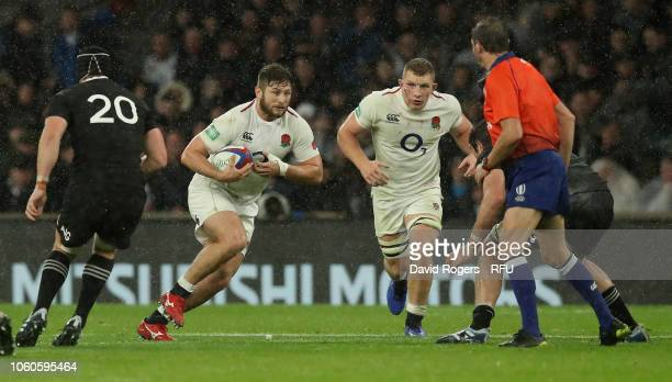 Alec Hepburn of England charges upfield during the Quilter International match between England and New Zealand at Twickenham Stadium on November 10...