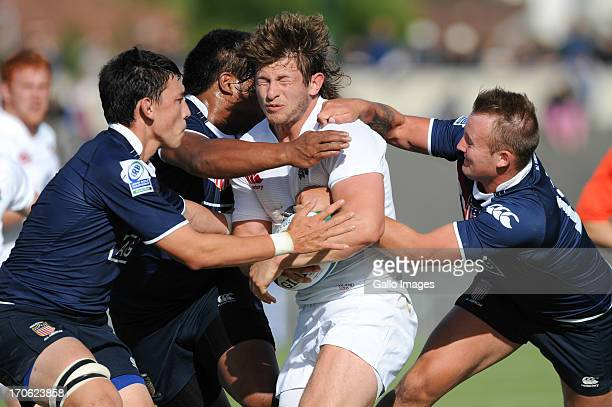 Alec Hepburn of England during the 2013 IRB Junior World Championship match between England and United States of America at Stade Henri Degranges on...