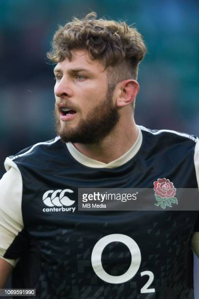 Alec Hepburn of England during the pre match warm up during the Quilter International match between England and Japan at Twickenham Stadium on...