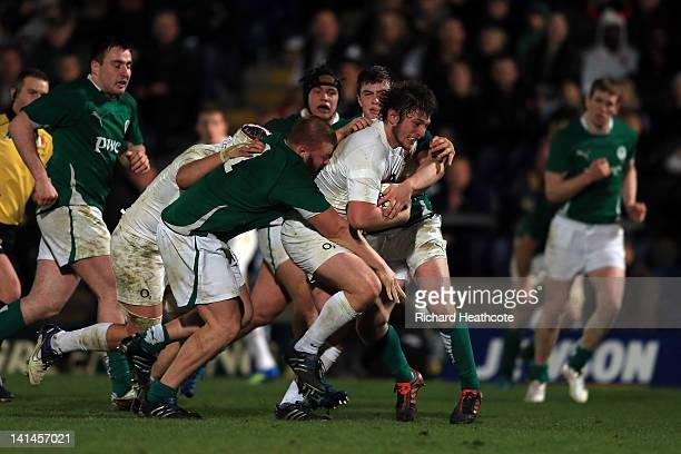 Alec Hepburn of England in action during the Under20 Six Nations Championship match between England and Ireland at Adams Park on March 16 2012 in...