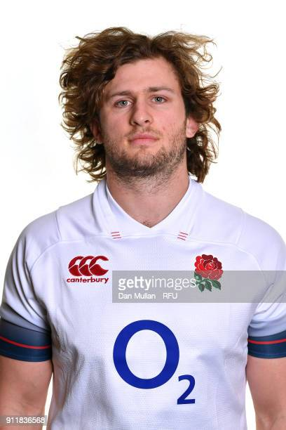 Alec Hepburn of England poses for a portrait during the England Elite Player Squad Photo call at Pennyhill Park on January 29 2018 in Bagshot England