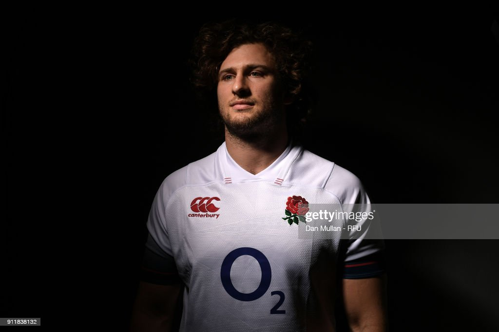 Alec Hepburn of England poses for a portrait during the England Elite Player Squad Photo call at Pennyhill Park on January 29, 2018 in Bagshot, England.