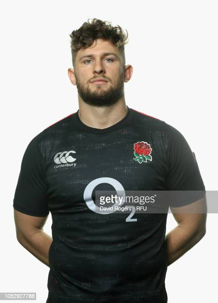 Alec Hepburn of England poses for a portrait during the England Squad Photocall at Pennyhill Park on October 24 2018 in Bagshot England