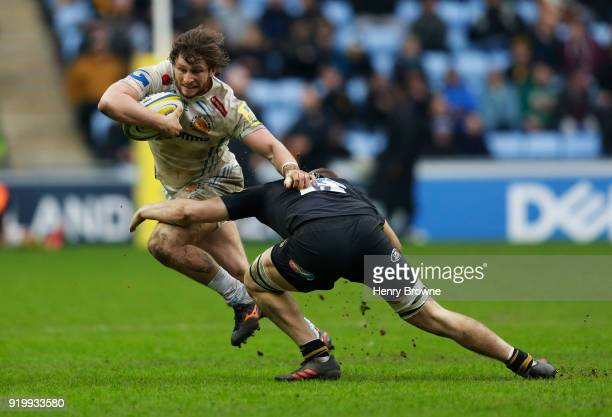 Alec Hepburn of Exeter Chiefs and Jack Willis of Wasps during the Aviva Premiership match between Wasps and Exeter Chiefs at The Ricoh Arena on...