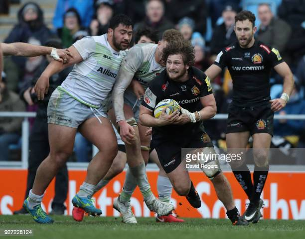Alec Hepburn of Exeter Chiefs breaks with the ball during the Aviva Premiership match between Exeter Chiefs and Saracens at Sandy Park on March 4...